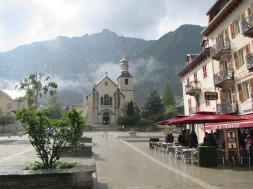 867 - raining in the town of Chamonix
